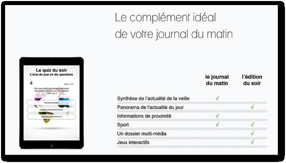 Argumentaire pour la complémentarité entre le journal du matin  et l'édition du soir de Ouest France.