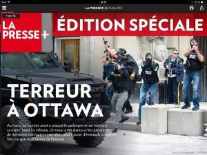 Une de l'édition spéciale de La Presse +