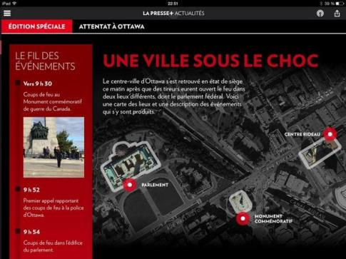 Un écran de l'édition spéciale de la Presse +