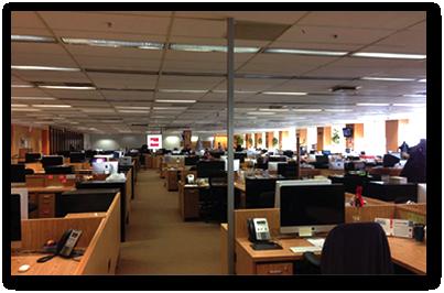 La salle de rédaction de la Presse +