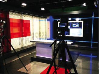 Le studio vidéo de La Presse+, en octobre 2014.