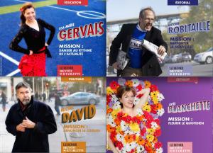 La campagne de pub pour la nouvelle édition numérique du Devoir, qui met en scène les journalistes.