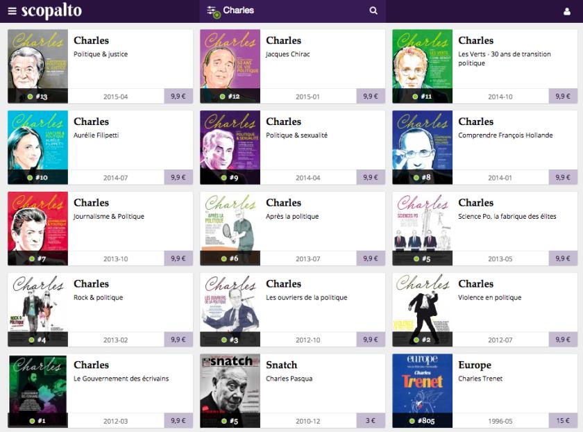 Sur Scopalto, on peut par exemple retrouver tous les anciens numéros de la revue Charles en numérique.