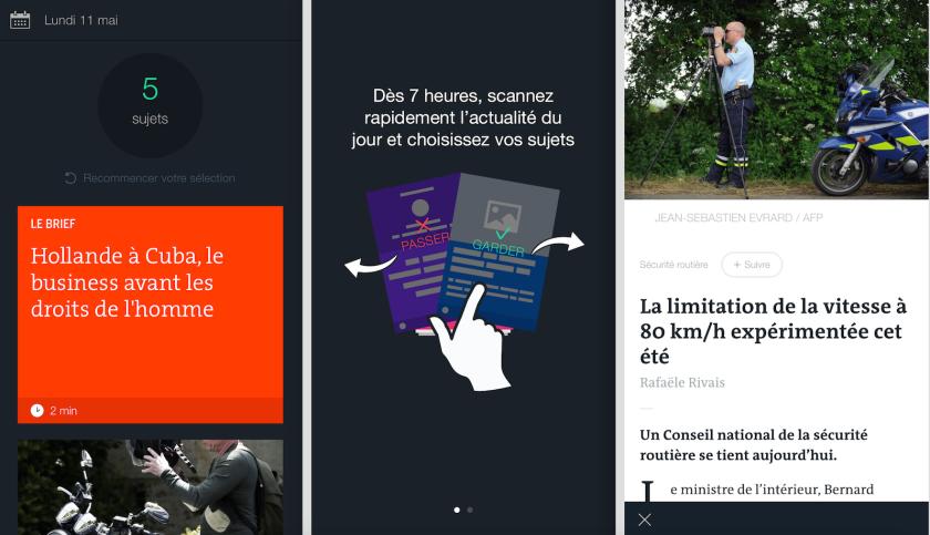A gauche, le premier écran de l'application ; à droite, un article.