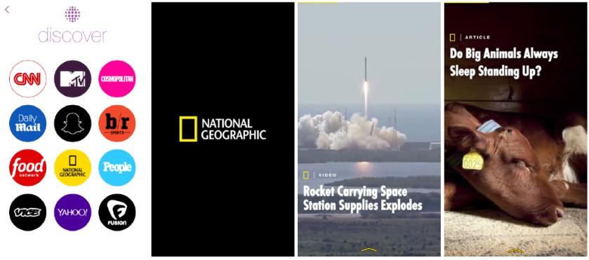 National Geographic  diffuse sur Snapchat (Discovery) des vidéos au format hauteur.