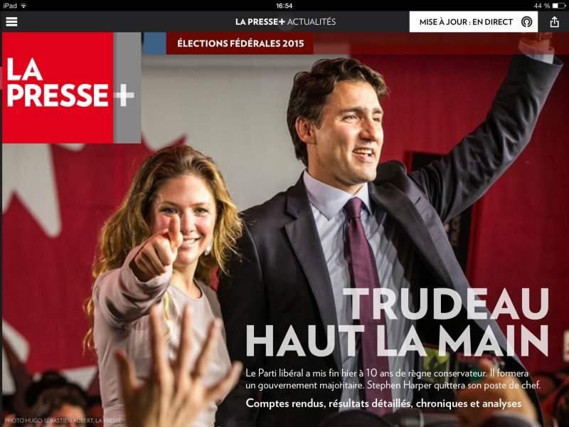 """La """"une"""" de l'édition spéciale élections de mardu 20 octobre."""